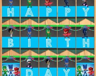 Pj Masks Happy Birthday Banner Chalkboard * Pj Masks Birthday Banner * Pj Masks Birthday Printables * PJ Mask Party Favors