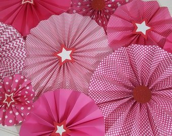 Set of 9 American Girl Inspired Pink Polka Dot and Striped Star Birthday Party Rosettes >>> Wall Hanging >>> Party and Photography Backdrop