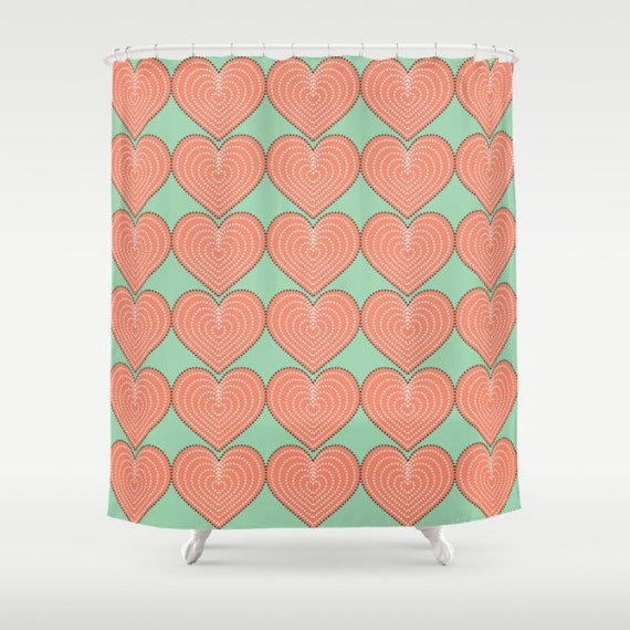 Heart Shower Curtain Coral Pink Heart Pattern On Blue Green