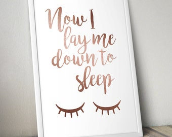 Now I Lay Me Down To Sleep faux rose gold print