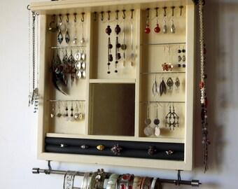 Jewelry holder. earrings display with shelf. CREAMY WHITE jewelry storage. wall mounted earring holder organizer. earrings storage rack.