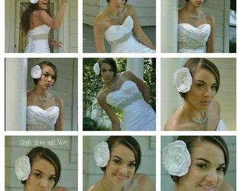 White Wedding hair piece - white wedding hair clip - wedding flower clip - bridal hair clip - bridal hair piece - wedding hair accessory