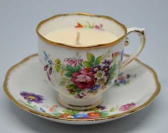 Vintage Upcycled Teacup Candle - Roslyn Floral Bouquet - Vegan Vanilla Candle