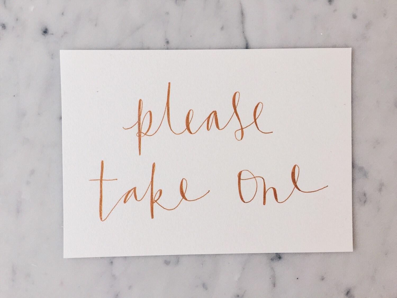 One Card Custom A5 Hand Drawn Metallic Rose Gold Copper