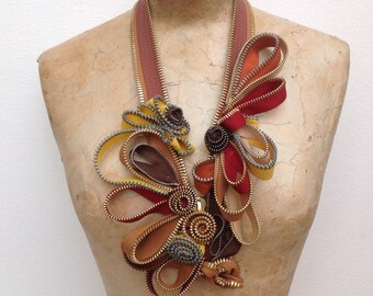 Zipper necklace sculpture