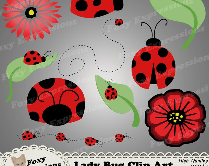 LadyBug clip art pack comes with 10 pieces to brighten up any project. Designs include lady bugs, leaf, flowers and paths. Red, Black, Green