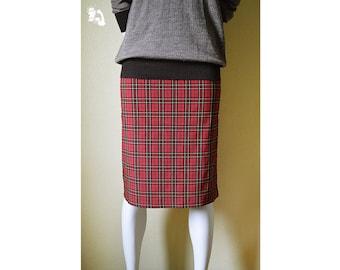 Red checkered vintage skirt, girl's skirt, vintage skirt, plaid skirt, woman's pencil skirt, retro skirt, Irish plaid split skirt 33
