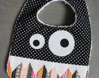 Pink and Black Monster Bib