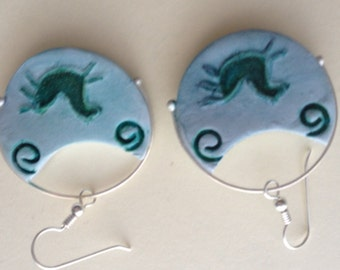 Fat pony primitive circle earrings.  Polymer clay with sterling silver accent.