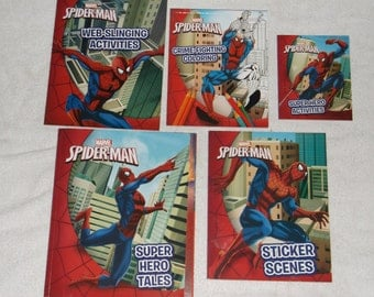 marval comics-spider-man-lot of 5-coloring book-1990s-GD