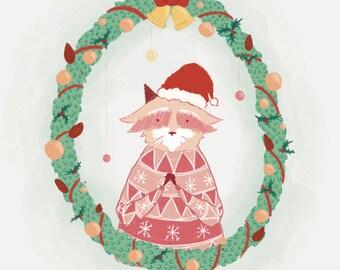 Pink Raccoons Christmas Card