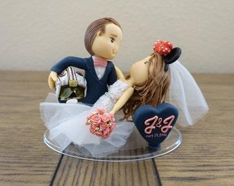Custom Couple Wedding Cake Topper, Minnie Ears, Rebels Helmet