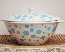 Vintage French Tureen from Digoin Sarreguemines Model Miami Vintage French Kitchen vegetables serving dish  white and blue crockery