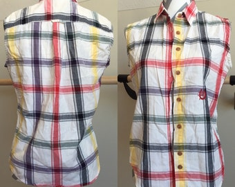 Sleeveless Plaid Button-Up Size Medium 100% Cotton Top