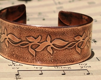 Copper cuff bracelet, Leaf scroll design etched, Casual chic jewelry