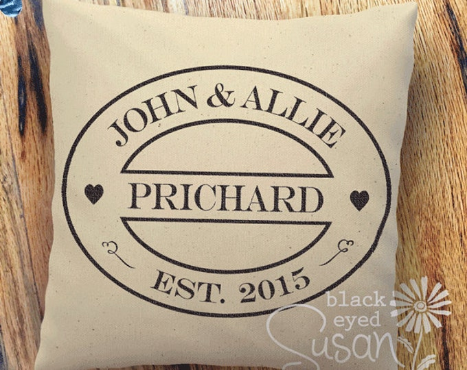 "Custom Wedding or Anniversary Pillow Cover of Natural Canvas or Lined Burlap | 12"" x 12"", 16"" x 16"", or 20"" x 20"""