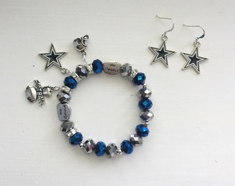 Dallas Cowboys Charm Bracelet and Earrings
