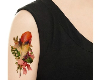 Temporary Tattoo - Vintage Feather / Peacock Feather / Watercolor Feather / Black Feathers