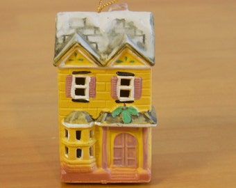 Vintage 1993 ceramic house Christmas ornament