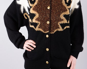 Vintage knitted Cardigan - knitted jumper - long Cardigan - 80s Cardigan - Sweater - black - Cardigan with pattern - oversize look