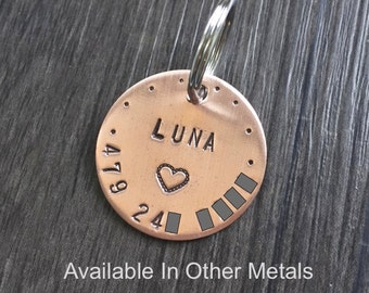 Copper Dog ID Tag, Dog Tag with Heart, Brass Dog Tag, Aluminum Dog Tag, Small Dog Tag, Pet Tag with Heart, Girl Dog Tag, Marry Me Dog Tag