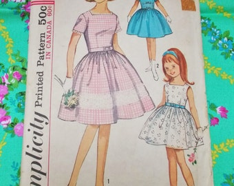 """Simplicity  Sewing Pattern - 1964 -  Girl's One-piece Dress  - Size 8 chest 26"""" - Mpn 5376  -  Used and complete"""