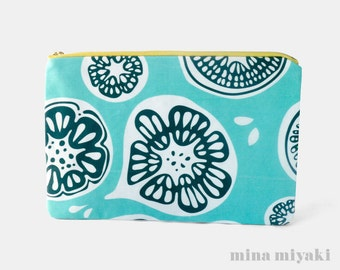 Frutti Print Zipper Makeup Pouch in Blue, Cosmetic, Toiletry, Baby Blue Purse, gift for nanny, baby blue Clutch, Carry-all bag, Fruit print