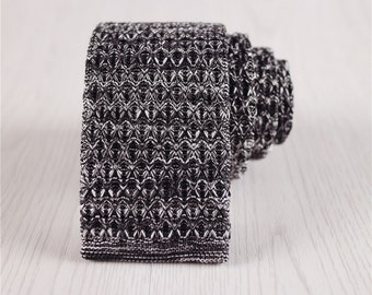 knit tie.knitted necktie.black tie.knit red tie.flat ties.solid color skinny tie.knit accessories.mens vintage tie.party neckties+nt.37s
