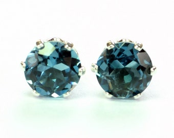 Genuine London Blue Topaz Earrings; Stud Earrings; Sterling Silver; Minimalist Earrings; Dark Blue Earrings; December Birthstone;