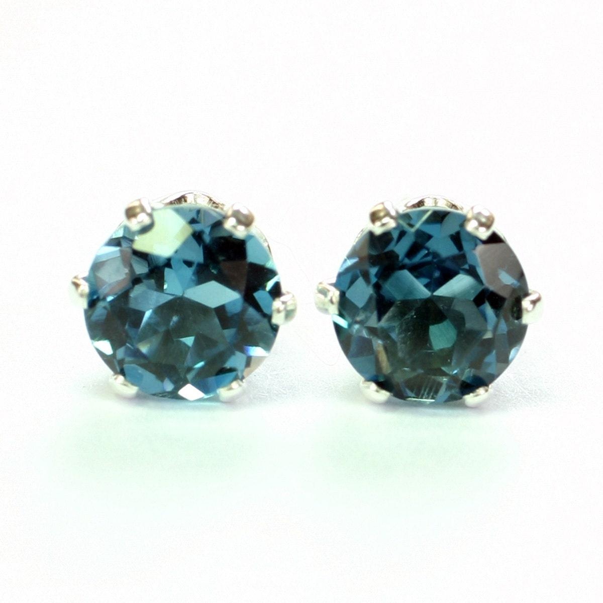 genuine london blue topaz earrings stud earrings sterling. Black Bedroom Furniture Sets. Home Design Ideas