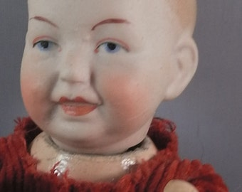 antique german bisque head baby doll, 1900/1910, comp.boby, 15cm,Limbach
