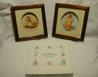 Beatrix Potter Decoupage Pictures x 2 (Boxed, Unused) By John Ellam