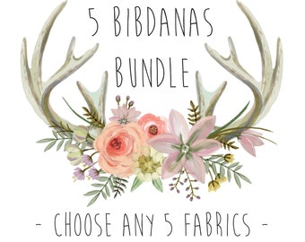 5 BIB BUNDLE - Bandana Drool Bibs (Adjustable Snap) / Bibdana