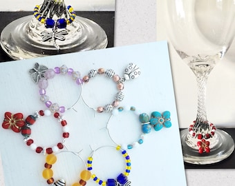 Silver wine glass charms with colourful glass beads