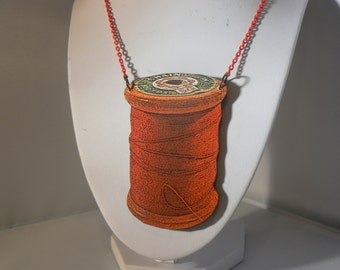 sewing bee thread giant  tatty vintage spool necklace woodcut lasercut red