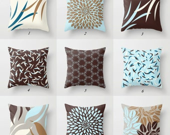 Blue And Brown Pillows, Blue Pillow Cover, Brown Throw Pillow, Blue And  White