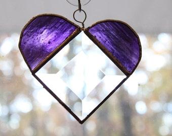 Handmade Stained Glass Bevel Heart Suncatcher - Purple