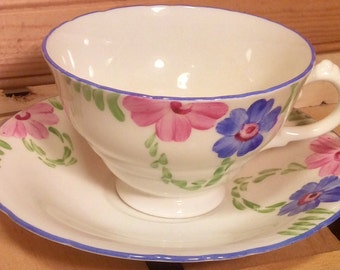 Pretty Art Deco Delphine Teacup and Saucer
