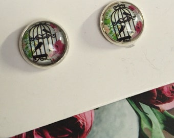 Pink and green birdcage glass cabochon stud earrings, silver tone