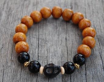 Black Skull Wood Bracelet,12mm Beads,Stretch,Buddhist Rosary Bracelet,Man,Woman,Pray,Boho,Yoga,Spirituality,Protection,Meditation