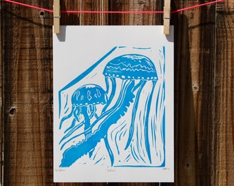 Aquarium Jellyfish Bathroom Beach Decor Beach Life Decor Linocut Print for Sale Wall Art Scandinavian Style Prints Boho Wall Hanging