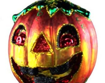 Halloween Pumpkin. Face on both sides. Glass from Poland