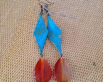 Carnelian raindrop earrings