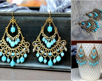 Sea Blue Davi Chandelier Boho Earrings