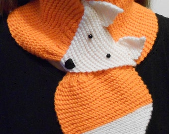 Fox knit scarf - animal knitted scarf - orange scarf