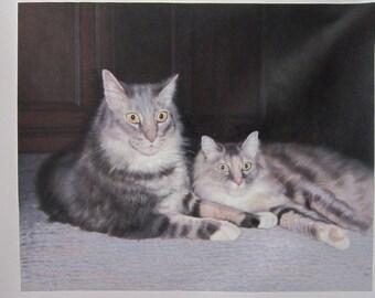 Custom pet oil portrait painting-Original cats oil portrait-Hand painted oil painting on canvas-Dog,Cat,Horse portrait and etc