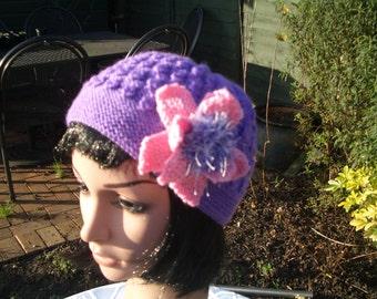Ladies Purple Hat, Hand Knit Hat, Hand made Hat, Womens Knit Hat, Womens Hand Knitted Hat, Wool Hat, Accessories, Winter Hat, Warm Hat