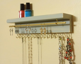 OTHER COLORS TOO - Jewelry Organizer - Necklace Holder - 16 Display Hooks - Earring Rod - Top Shelf - Ready To Hang