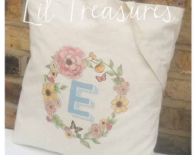 Personalised Name Canvas Shopper Tote Bag, available in any colour font. Children's gift, floral, flowers, wedding tote's, flower girl