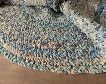 Primitive Braided Rag Area Rug, 5 ft x 4 ft